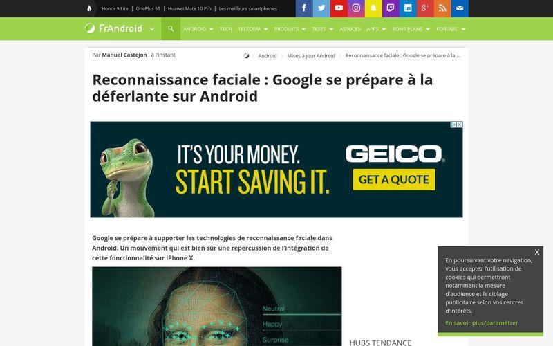 Reconnaissance faciale : Google se prépare à la déferlante sur Android - FrAndroid