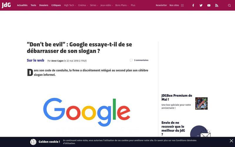 ?Don't be evil? : Google essaye-t-il de se débarrasser de son slogan ? (Journal du Geek)